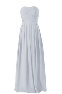 Sweetheart Long Empire Chiffon Dress With Ruching