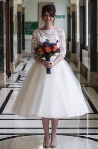 Knee-Length Half Sleeve Keyhole Tulle Lace Dress