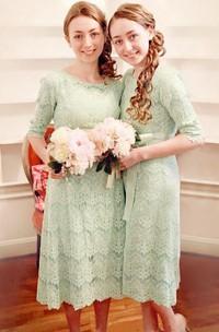 A-line Tea-length Half Sleeve Zipper Lace Dress
