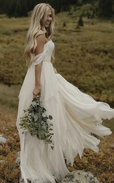 Off-the-shoulder Sweetheart Ethereal Chiffon Floor Length Wedding Dress
