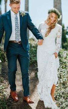 Lace Court Train Sheath Long Sleeve Bohemian Romantic Wedding Dress