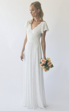 Simple Sheath Short Sleeve With Ruching V-neck Lace Wedding Dress in Floor-length