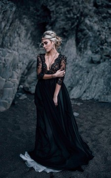 Sheath  Black Wedding Dress V-neck 3/4 Length Sleeve Button Illusion Back With Lace