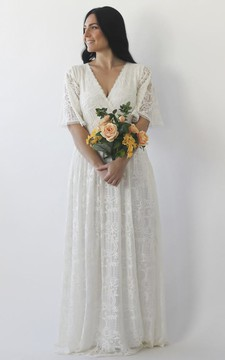 Ruching Details And Illusion Half Bell Sleeve Brush Train V-neck A-line Lace Wedding Dress