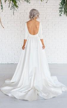 3-4 Sleeve Satin A-Line Dress With Bateau Neckline