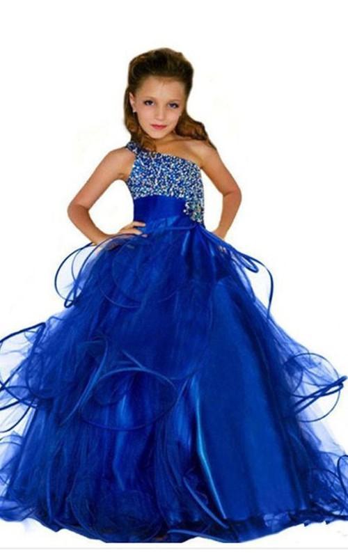 Ball Gown One-Shoulder Sleeveless Beaded Flower Girl Dress