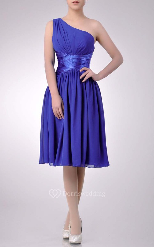 Knee-length One-shoulder A-line Chiffon Bridesmaid Dress With Satin Sash