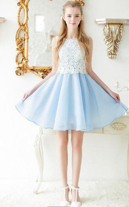 Sleeveless Chiffon Organza Lace A-line Dress