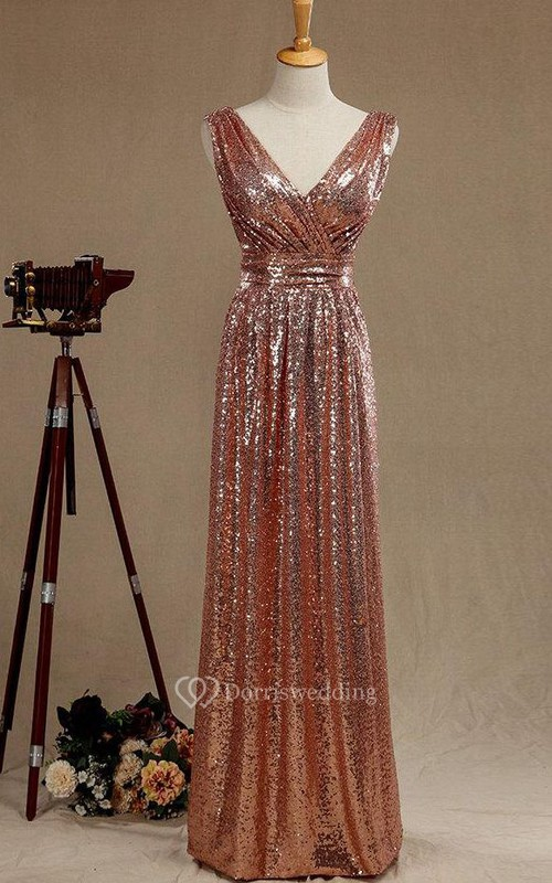 V Neck A-line Pleated Sequined Long Dress With V Back