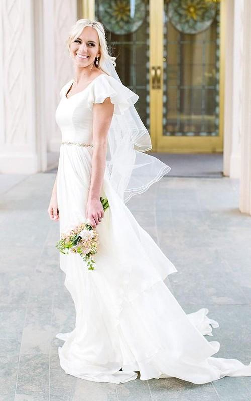 Flowy Beach Short Sleeves Beaded Belt Temple Chiffon Modest Wedding Dress
