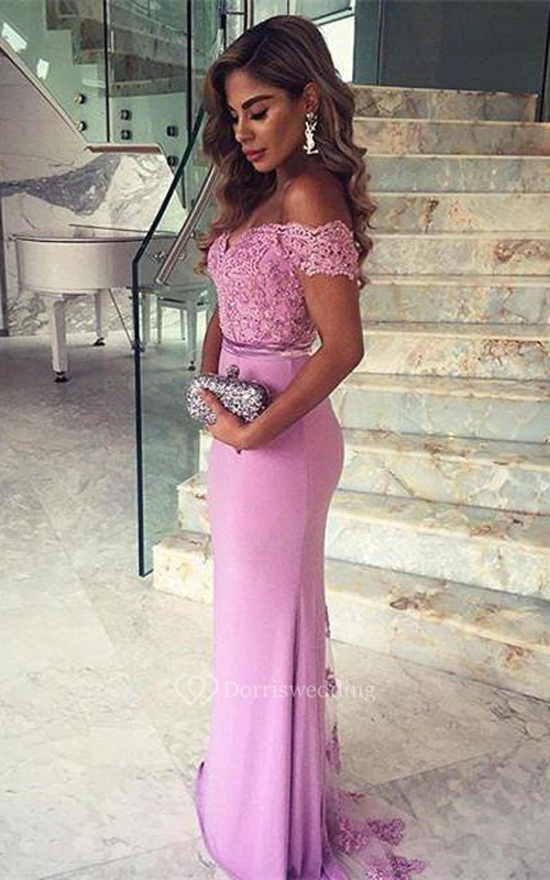 Elegant Lace Appliques Mermaid Prom Dress Off-the-shoulder Sweep Train