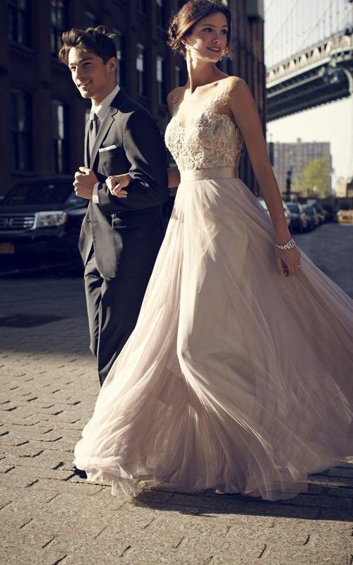 Simple A-Line Tulle Prom Dresses Appliques Floor Length Evening Dresses
