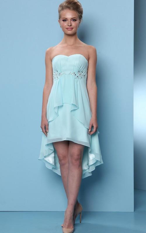 High-Low Sleeveless Sweetheart Beaded Chiffon Bridesmaid Dress With Draping