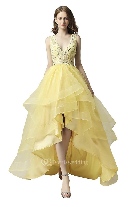 Cute High-low Beaded Adorable Sleeveless Dress With Cascading Ruffles And Keyhole