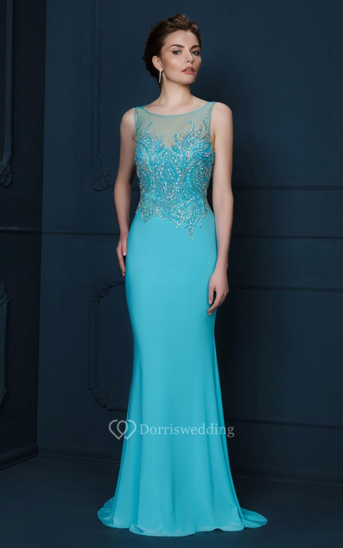 Sheath Beaded Scoop-Neck Sleeveless Long Jersey Evening Dress