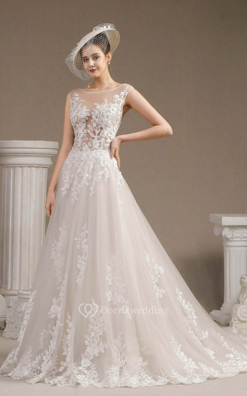 Cap Sleeve Illusion Top Ballgown Wedding Dress With Lace Appliques And Button Back