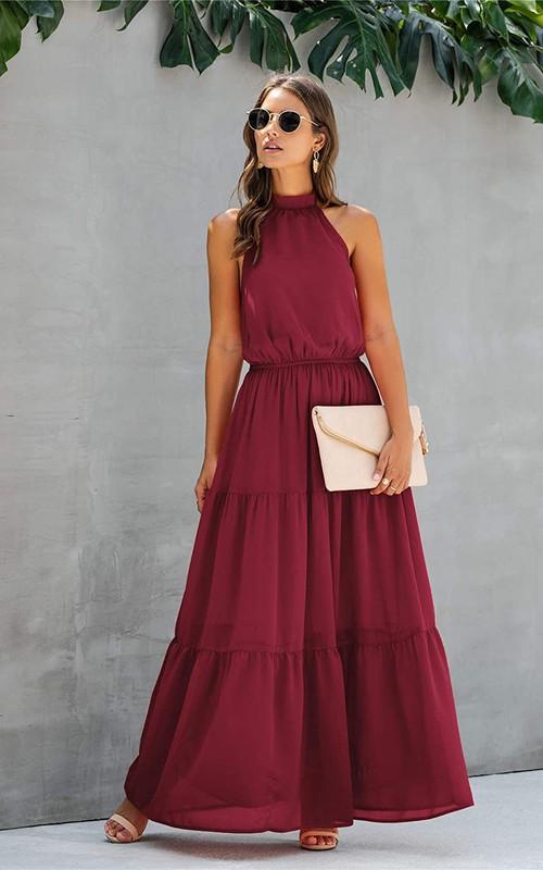 Simple Chiffon Halter A Line Sleeveless Prom Formal Dress With Ruffles