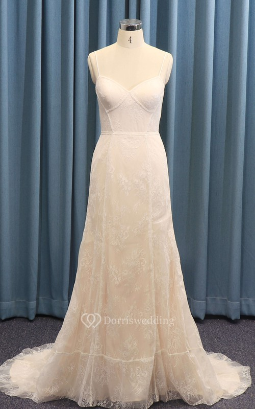 Lace Sexy Spaghetti Straps A-line Wedding Dress With Boning And Open Back