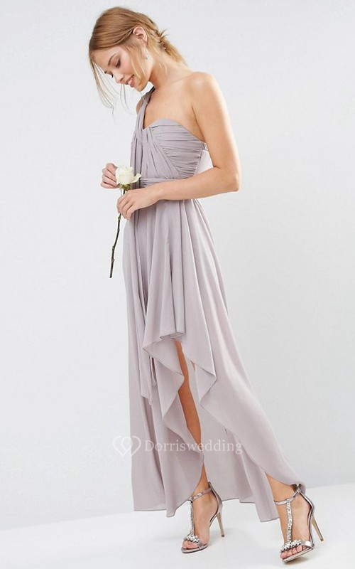 Ankle-Length Draped Sleeveless One-Shoulder Chiffon Bridesmaid Dress