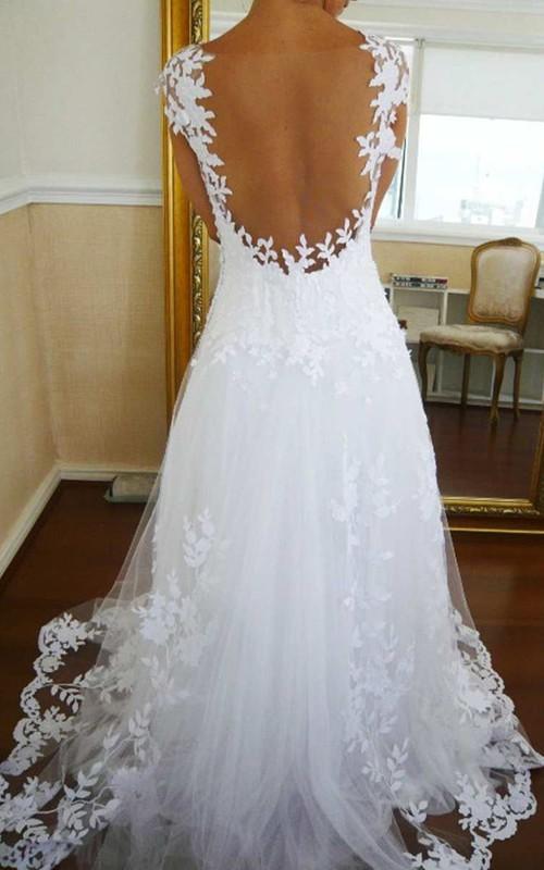 Cap Sleeve V Neck A-line Long Lace Dress