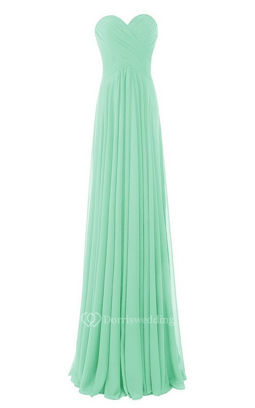 Strapless Sweetheart Criss-cross A-line Gown With Zipper Back