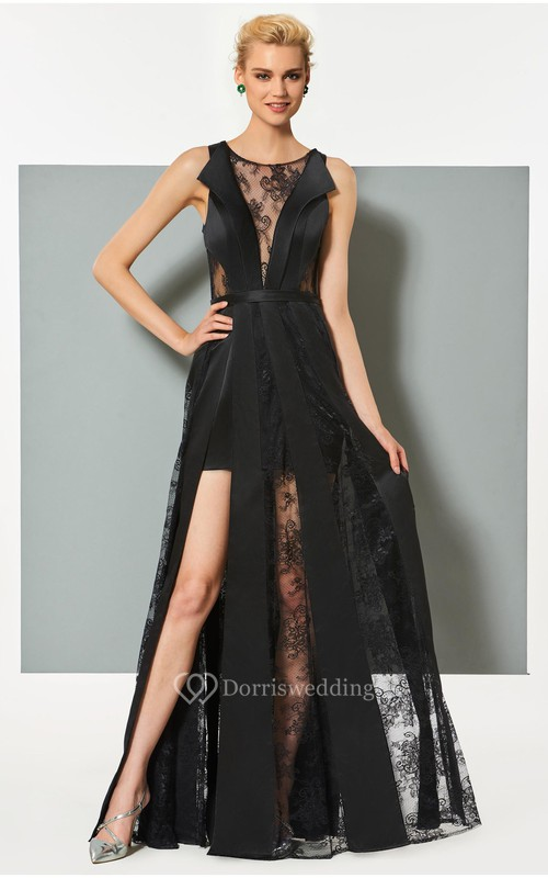 Sexy Satin and Tulle Sheath Bateau Sleeveless Appliqued Dress with Front Split