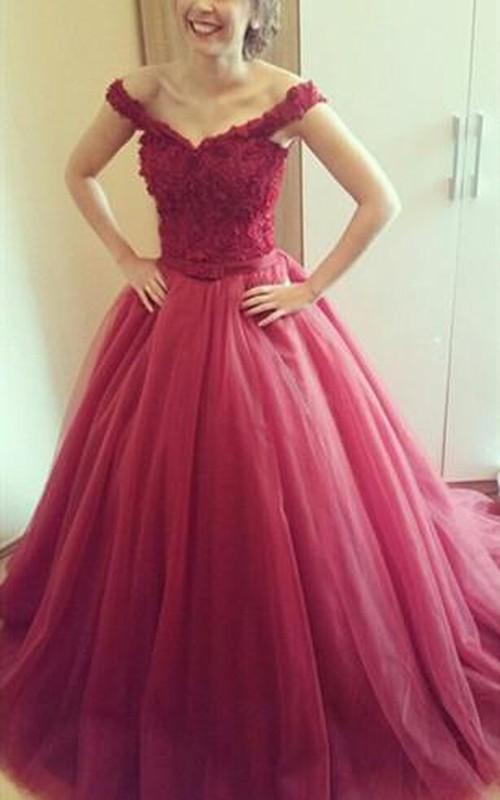 Delicate Lace Appliques Princess Prom Dress 2018 Off-the-shoulder Lace-up