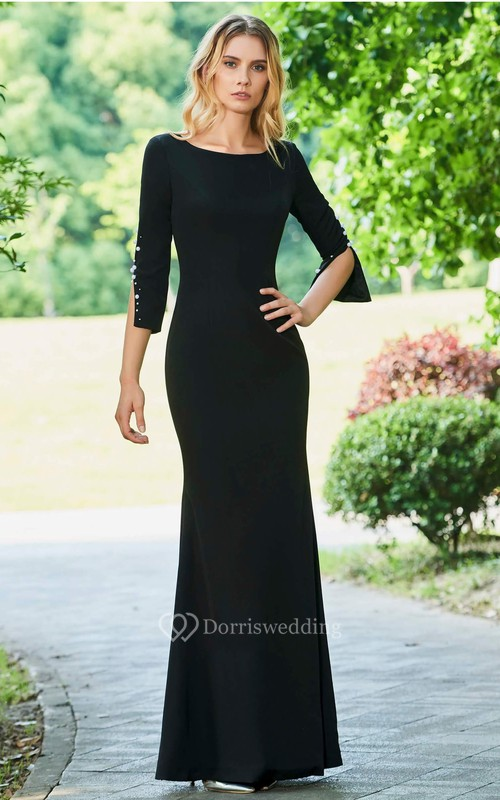 Modern Mermaid Pearls Bateau Satin Floor-length 3/4 Sleeve Dress