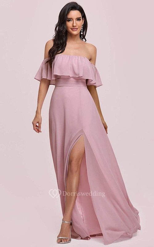 Casual Chiffon Off-the-shoulder A Line Guest Dress With Ruffles and Split Front