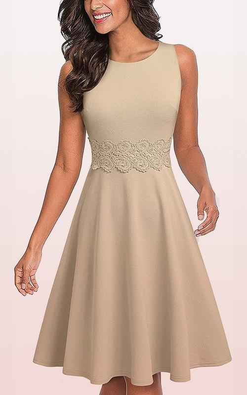 Spandex Knee-length A Line 3/4 Length Sleeve Modest Dress with Appliques