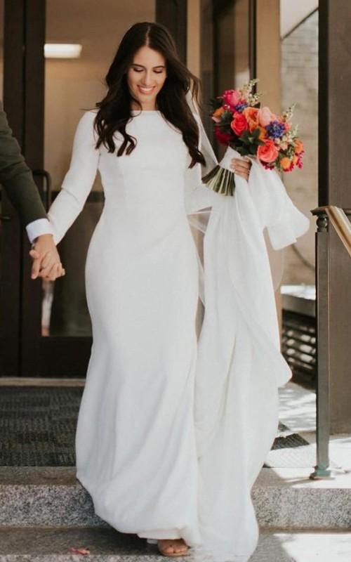 Satin Floor-length Chapel Train Mermaid Long Sleeve Simple Wedding Dress