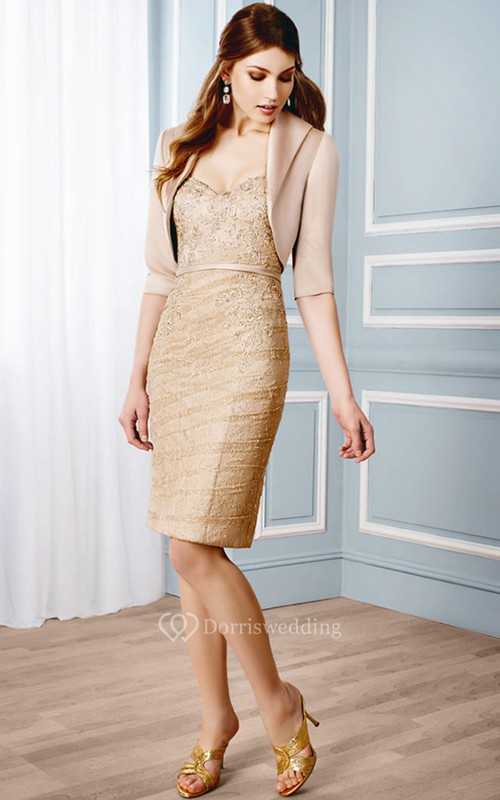 Short Pencil Appliqued V-Neck Half Sleeve Lace Formal Dress With Bolero