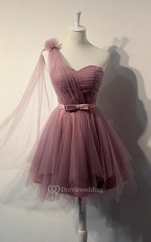Charming Cute One-shoulder Tulle Mini Prom Dress