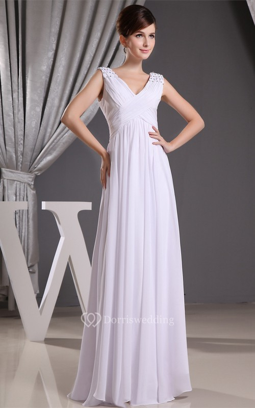 Plunged Criss-Cross Long Caped-Sleeve Empire Waist and Dress With Beading
