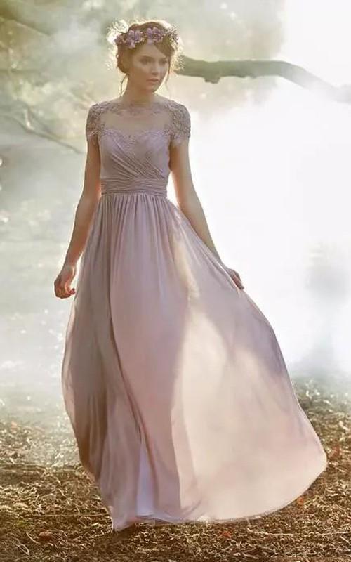 Jewel A-line Floor-length Short Sleeve Chiffon Bridesmaid Dress with Zipper Low-V Back