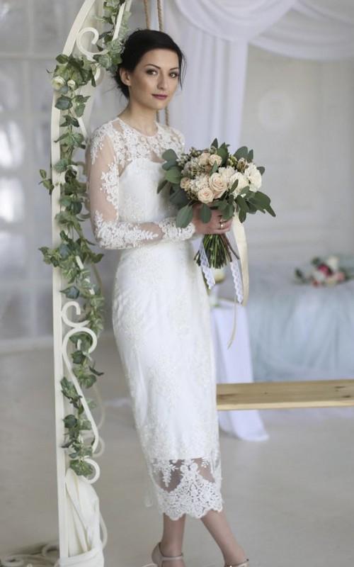 Split Back Sheath Ankle-length Wedding Dress With Illusion Lace Appliques