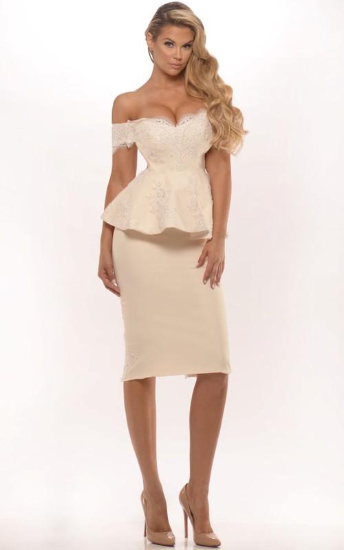 Off-The-Shoulder Midi Split Back Peplum Jersey Prom Dress