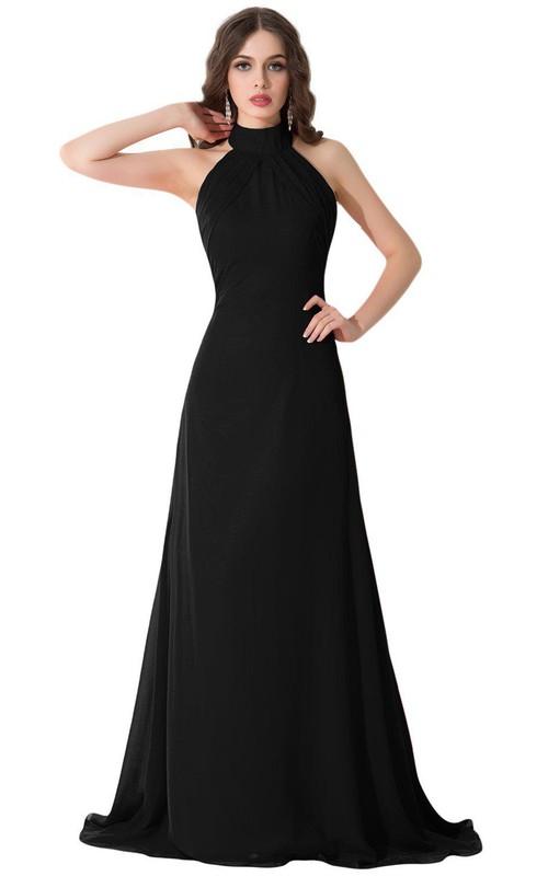 High-neck Long Chiffon Dress With Open Back