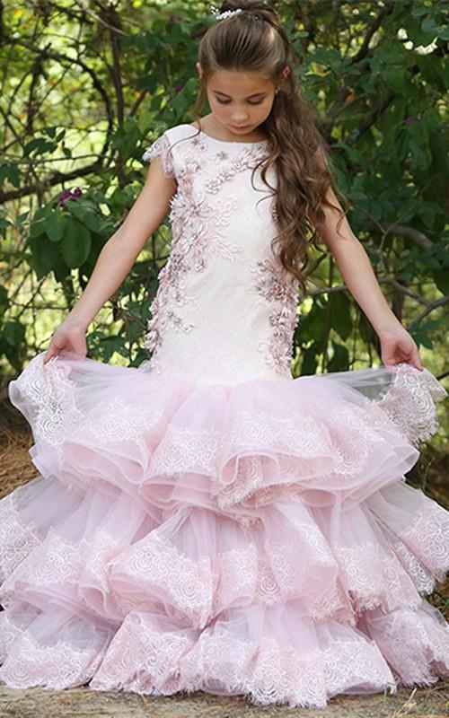 Appliqued Bateau Low-V Back Tier Flower Girl Dress
